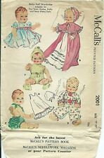 "M 2001 sewing pattern 50's darling 16"" DOLL CLOTHES Tiny Tears Betsy Wetsy DyDee"