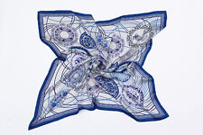 """Extra Large Square Silk Scarf 43x43"""" Blue and White Plates Print DFD102"""