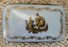 Antique Carlin Comforts Porcelain Cigarette Box, Beautiful Blue & Gold!