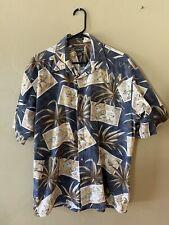 HAWAIIAN SHIRT BY ST. JOHN'S BAY XL Blue/Brown/Cream LEAVES DRINKS- COTTON