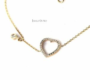 14K Gold 0.17 Ct. Genuine Diamonds Heart Chain Friendship Bracelet Fine Jewelry