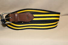 POLO MEN'S NAVY BLUE AND YELLOW STRIPED COTTON BLEND BELT SIZE 38