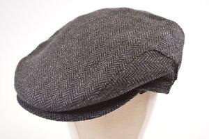 Wigens NWT 100% Wool Newsboy w/Flaps in Black and Gray Herringbone Size 59