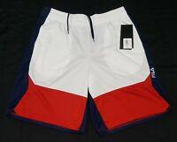 Mens Fila Basketball- Running Shorts Fitness Pockets cherry Blue white