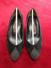 Vintage women black suede shoes with leather insoles & silver studs, size 5.5/6