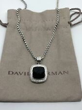 David Yurman Sterling Silver 14mm Black Onyx Diamond Albion Pendant Necklace