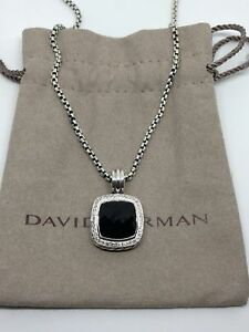 David Yurman Sterling Silver 14mm Black Onyx Diamond Albion Pendant Necklace