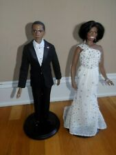"Barack and Michelle Obama Inaugural Danbury MInt 17"" Dolls"