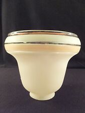 "Unique Green & Pale Tangerine Striped Frosted Glass Light Shade 2.25"" Fitter"