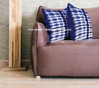 Indien Teinture Shibori Coussin Housse Rayure Design Taie Coton Jeté Décor