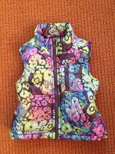 Girls P.S. Aeropostale Blue Purple Green Flowers Puffer Vest Size 4/5