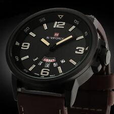 Men-wasserdicht Watch Analog Quarz Datum Sport Armee Leder Armbanduhr Großhandel