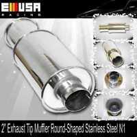 "Unviersal DUAL 4/"" Exhaust Tip Muffler Round-Shaped For Acura Audi Nissan Subaru"