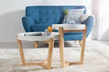 Beistelltisch Tabletttisch 2er Set weiß Eiche Massivholz Retro Design Tischset