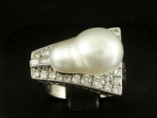 Vintage Diamant Perl Ring ca. 0,72 ct.   9,0g 585/- Weißgold