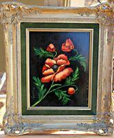 "Orig Oil on Panel, Listed Washington Artist M. H. Lak, Floral ""Poppy"", Framed"