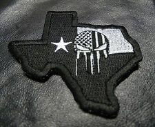 PUNISHER SKULL TEXAS STATE FLAG MAP TACTICAL MORALE IRON ON PATCH