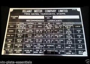 REPRO Reliant Robin Regal Scimitar GT Bond Bug Rialto Kitten chassis blank-plate