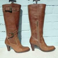 RIVER ISLAND Leather Boots Uk 4 Eu 37 Womens Buckles Pull on Distressed Brown