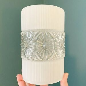 Vintage Frosted Opaque & Clear Glass Pendant lampshade lightshade 50s 60s