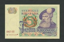 SWEDEN - 5 kronor  1967 *Replacement  P51ar1  Uncirculated  ( Banknotes )
