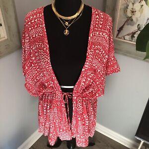 VICTORIA'S SECRET One Size Red Heart Print Drawstring Swim Cover Up Kimono Robe