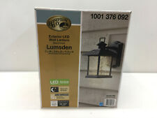 "Hampton Bay Lumsden 7"" Black Outdoor Integrated Led Wall Lantern 1001376092"