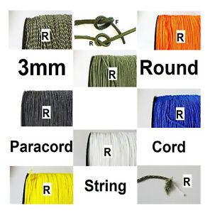 PARACORD round rope string line 3mm cord synthetic sailing lanyard cord UK