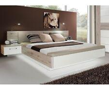 Bettanlage Doppelbett Bett mit Fussbank Sandeiche Nb. / Hochglanz Weiß 180x200