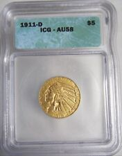 1911-D Indian Head $5 Half Eagle Gold Coin Authenticated & Graded by ICG AU58