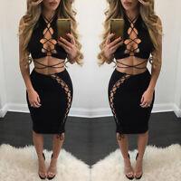 Fashion Sexy Womens Bodycon Slim Bandage Two Piece Crop Tops& Skirt Dress Set UK