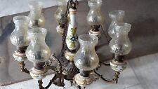 lampadario antico anni 50 in ottone e ceramica
