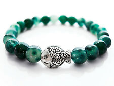 Handcrafted Semi Precious Stone Bracelet w/ Moss Agate Beads & Silver Fish Charm