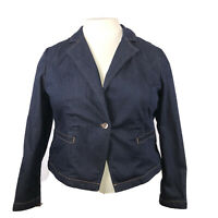 Chicos Platinum Denim Jean Jacket Blazer 3 buttons size 3 xl 16