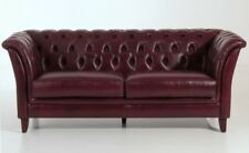 Sofa Couch 2,5-sitzig Leder Wischleder rot Chesterfield England Knopfheftung