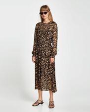 Zara Woman 'Animal Print Midi Dress' Sheer Smocked Waist M NWT