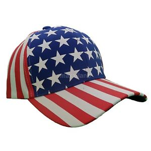 Baseball Cap Usa American Flag 100% Cotton Strapback Adjustable Visor Mens Hat