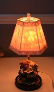 V Cute Vintage Teddy Bears Nursery Lamp with Coloured Lithophane Teddies Shade