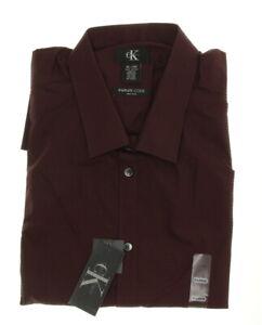 Calvin Klein Men's Infinite Cool Long Sleeve Dress Shirt - Burgundy - Size XL