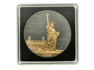 United States - Silver 1 Dollar Coin - 'Ellis Island' - (Gold/Black)- 1986 - UNC
