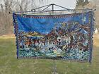 """Plush Velvet Tapestry Wall Hanging  Warriors ~70""""x47"""" Huge & Elegant Vintage"""