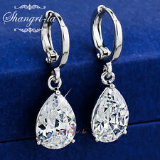 18K W/ GOLD Filled Wedding TEARDROP Dangle EARRINGS with SWAROVSKI CRYSTAL EX479