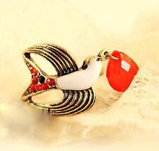 Adjustable vintage style bronze bird charm ring