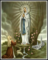 """8 1/4"""" x 10 1/4"""" Catholic Art Print OUR LADY OF LOURDES - Printed in Germany"""