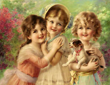 Oil painting Emile Vernon  Best of Friends three little girls & dog in landscape