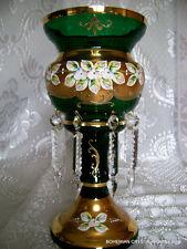 CZECH BOHEMIAN SLAVIA HI ENAM EMERALD GREEN CRYSTAL GLASS MANTLE LUSTRE VASE NIB