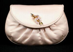 JUDITH LEIBER Vintage Powder Pink Satin Hearts & Arrow Detail Evening Bag