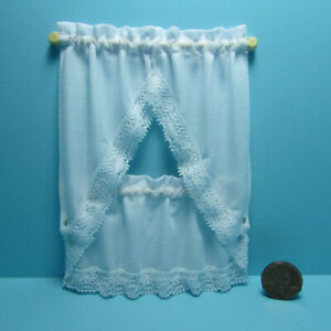 Dollhouse Miniature Kitchen Curtain Set White with Lace BB50602