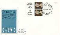 2414 1968 Machin se-tenant pane 2 x 4 d + 2 x se-tenant labels (ex.2/- book) FDC
