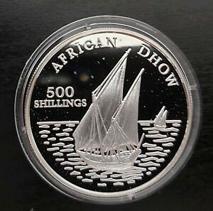 TANZANIA - SILVER PROOF 500 SHILLINGS COIN 2001 YEAR AFRICAN DHOW SHIP